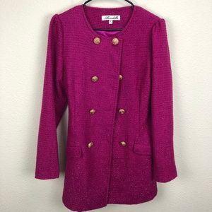 Annabelle Fuschia Pink Double Breasted Jacket Sz L